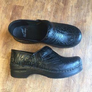 Dansko Black Paisley Pattern Leather Clog